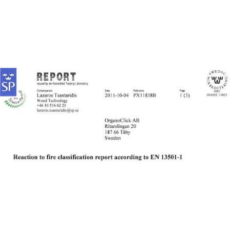 Organowood Brandschutzzertifikat