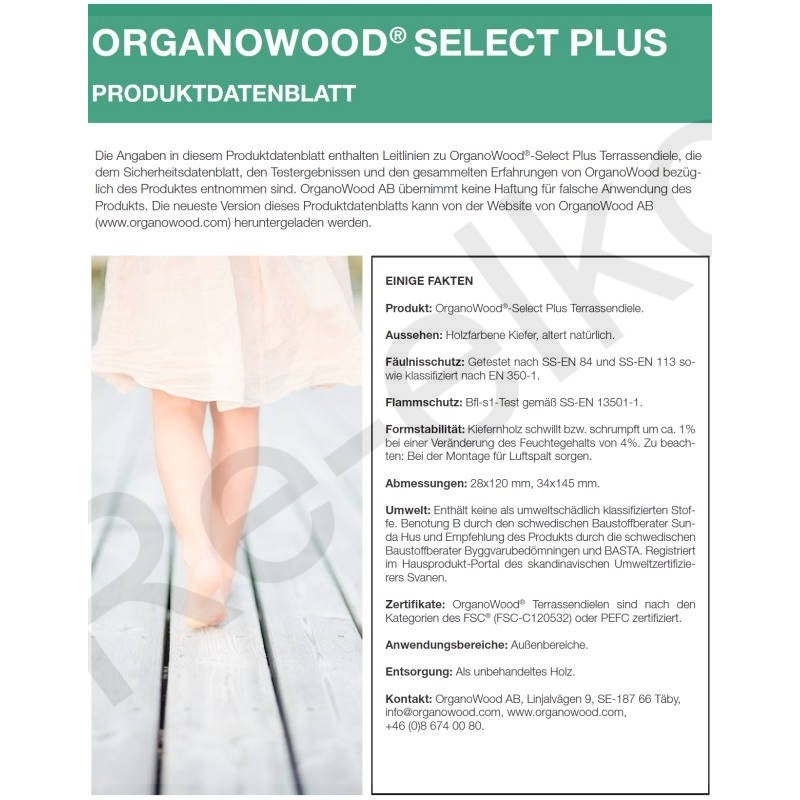 Organowood Produktdatenblatt Select Plus