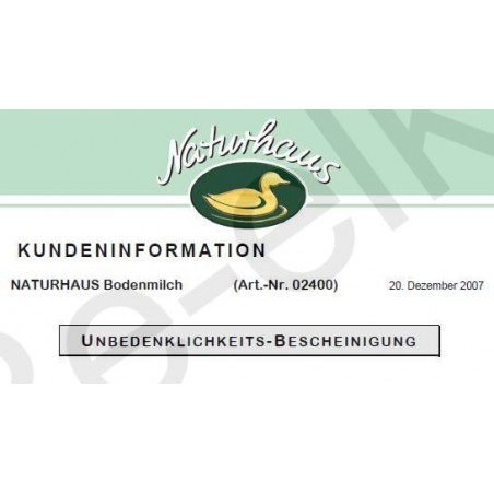 Naturhaus Bodenmilch Kundeninformationen
